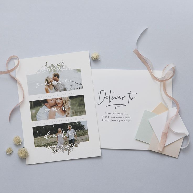 "Send then a date to remember. ""Whispers"" Save The Date Multi Photo Card by Jeanne Casper. Available in card, postcard, and petite card format on Minted."