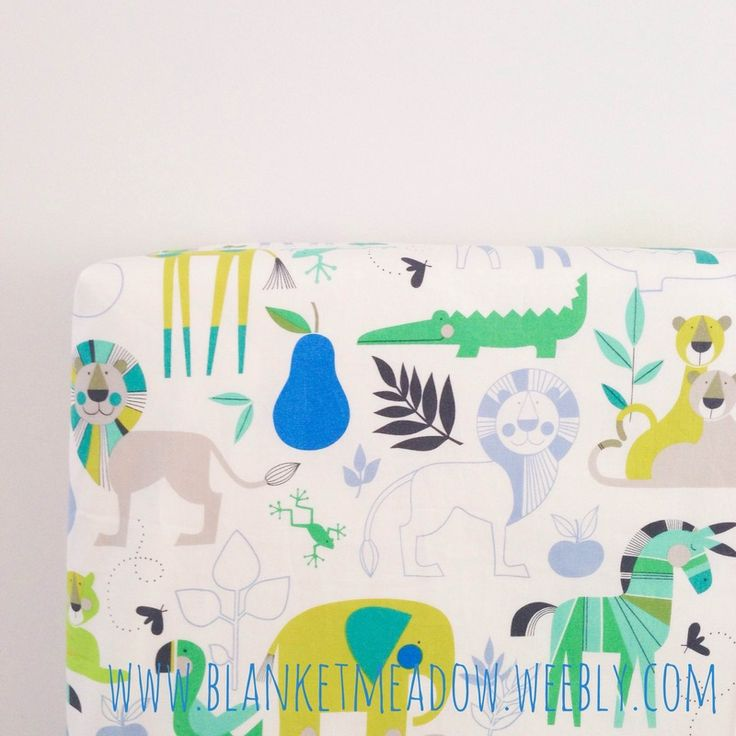 Bisou Zoo in Aqua Blue and Green fitted cot sheet.