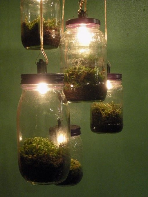 Fairy Lanterns: Hanging Lights, Ideas, Lights Fixtures, Plants Flowers, Minis Gardens, Mason Jars, Jars Lights, Diy, Terrarium Lights