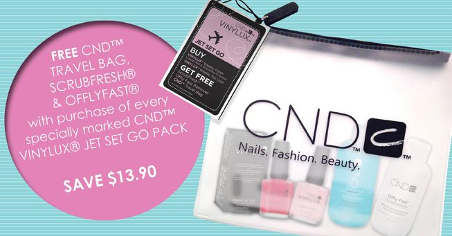 #CND FREE CND™ TRAVEL BAG, SCRUBFRESH® & OFFLYFAST® with purchase of every specially marked CND™ VINYLUX® JET SET GO PACK. SAVE $13.90. Grab deal >> http://bit.ly/1QBiLTi
