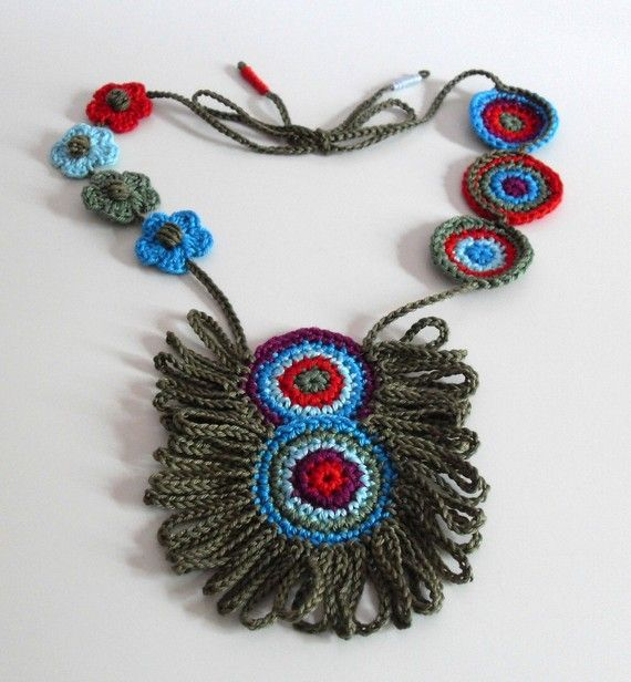 Crocheted Necklace Blue Red Green Purple  Fiber Art by Silvia66, $108.00