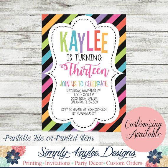 27 best 13th Birthday Party Ideas images – Thirteenth Birthday Invitations