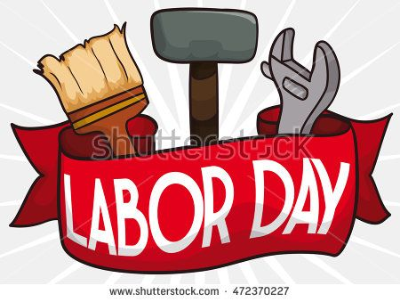 Labor Day poster with a red ribbon and tools: hammer, wrench and a brush to…
