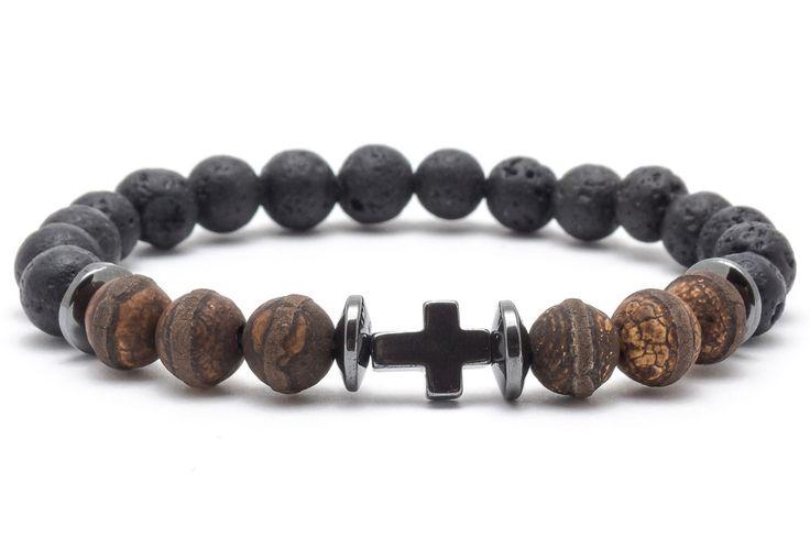 Mens Armbands – Bracelet mala stone lava agate hematite – a unique product by Blackif on DaWanda