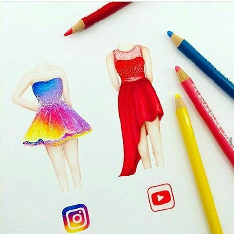 Instagram & YouTube [as dresses] (Drawing by Unknown) #SocialMedia