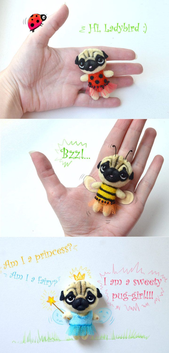 """Needle felted brooch """"Pug"""". Cute felt little dog. Funny pin pug. - pinned by pin4etsy.com"""