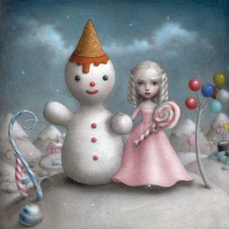nicoletta ceccoli girl in pink with snowman and a lollipop
