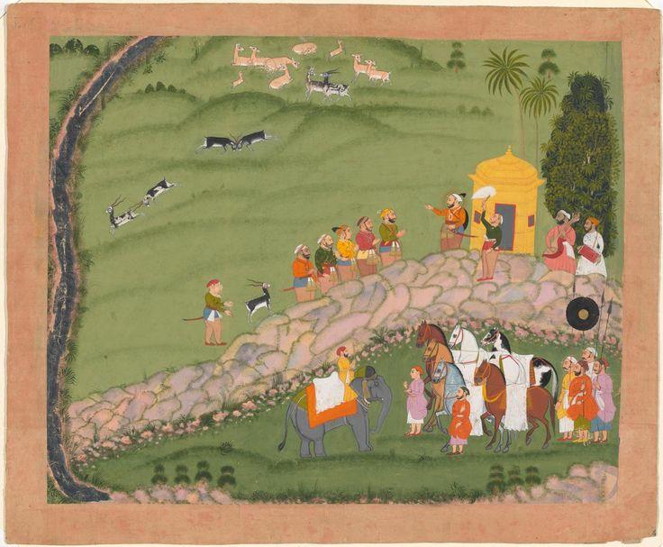 Maharana Sangram Singh II and sardars before a hunt