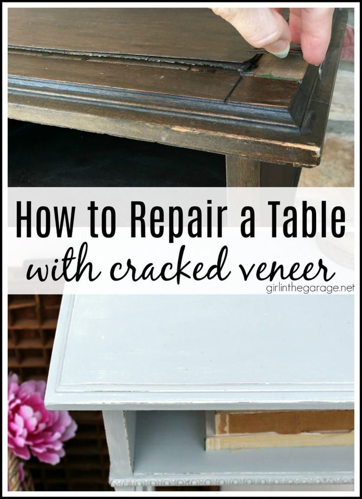 So reparieren Sie einen Tisch mit gerissenem Furnier