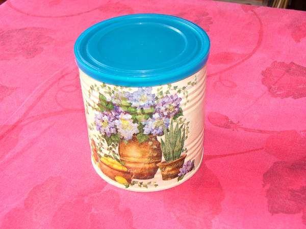 Boite de conserve d cor e serviettage d i y loisirs creatifs craft scra - Boite de conserve decoree ...