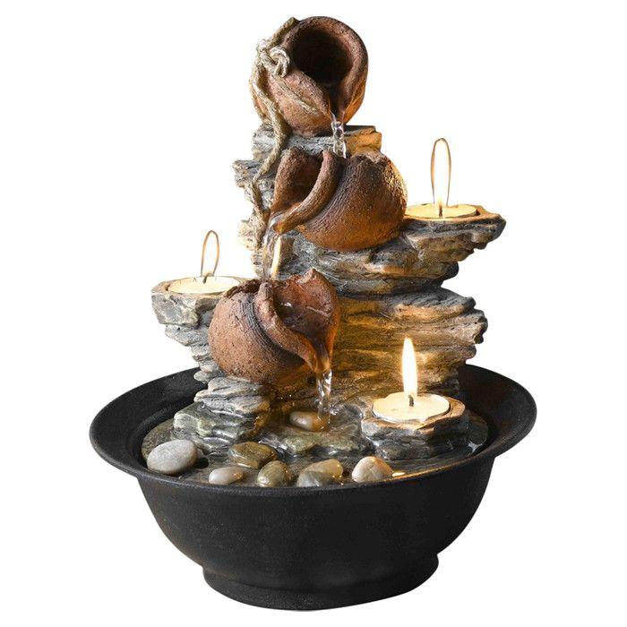ResinAcrylic Tavolo Luci Mini Pot Tabletop Fountain