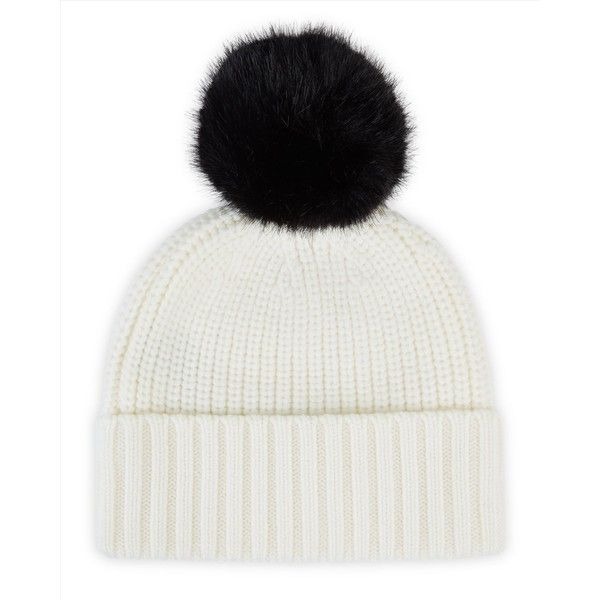 Jaeger Jaeger Faux Fur Bobble Top Beanie ($49) ❤ liked on Polyvore featuring accessories, hats, fake fur hats, chunky beanie, pom pom beanie, pompom hat and bobble beanie