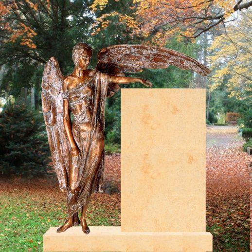 Stilvolles Grabmal mit großer Bronze Engel Figur Clara • Qualität & Service direkt vom Bildhauer • Jetzt Grabstein online kaufen bei ▷ Serafinum.de