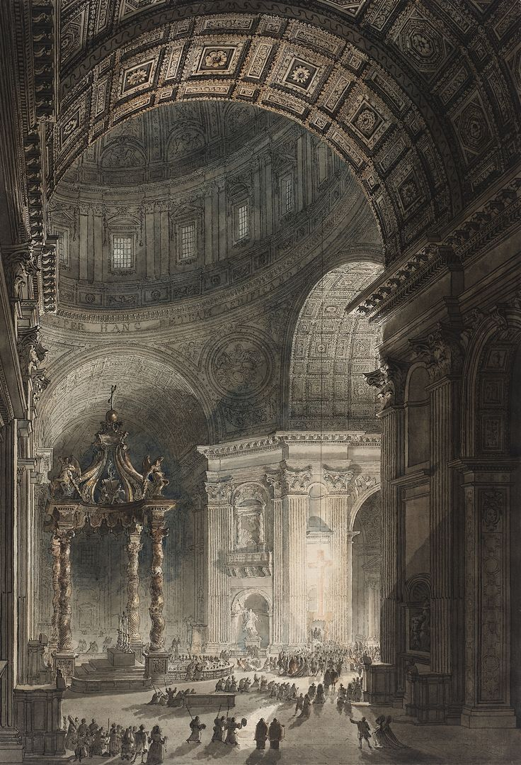 The Illumination of the Cross in Saint Peter's Basilica on Good Friday by Giovanni Battista Piranesi (etching) and Louis Jean Desprez (watercolor), 1787.