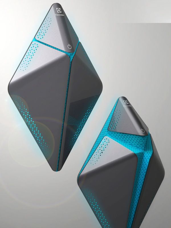 Electrolux Ohita – Air Cleaner by Jorge Alberto Trevino Blanco - Ohita is an air cleaner with a modular kinetic sculpture structure that serves you fresh air on demand. The modules can be used to decorate your home or worn as a wearable accessory. | Yanko Design