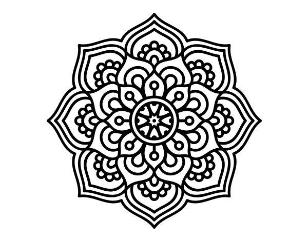 Dibujo de Mandala flor de la concentración para Colorear
