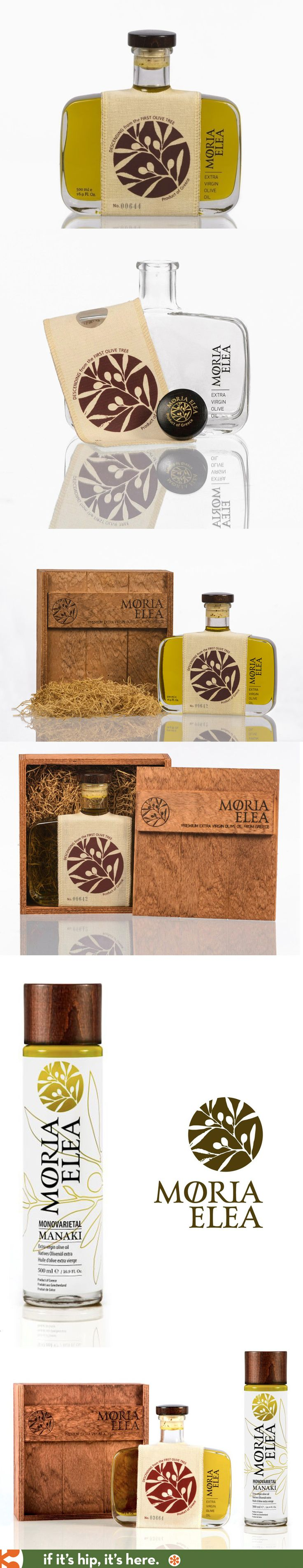 Beautiful bottles and packaging for Moria Olea, olive oil from Greece.