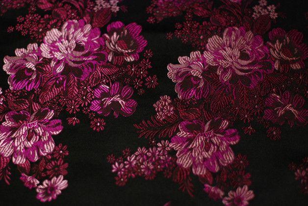 Żakard Purple Flowers szer. 74 cm - tailors_emporium - Tkaniny
