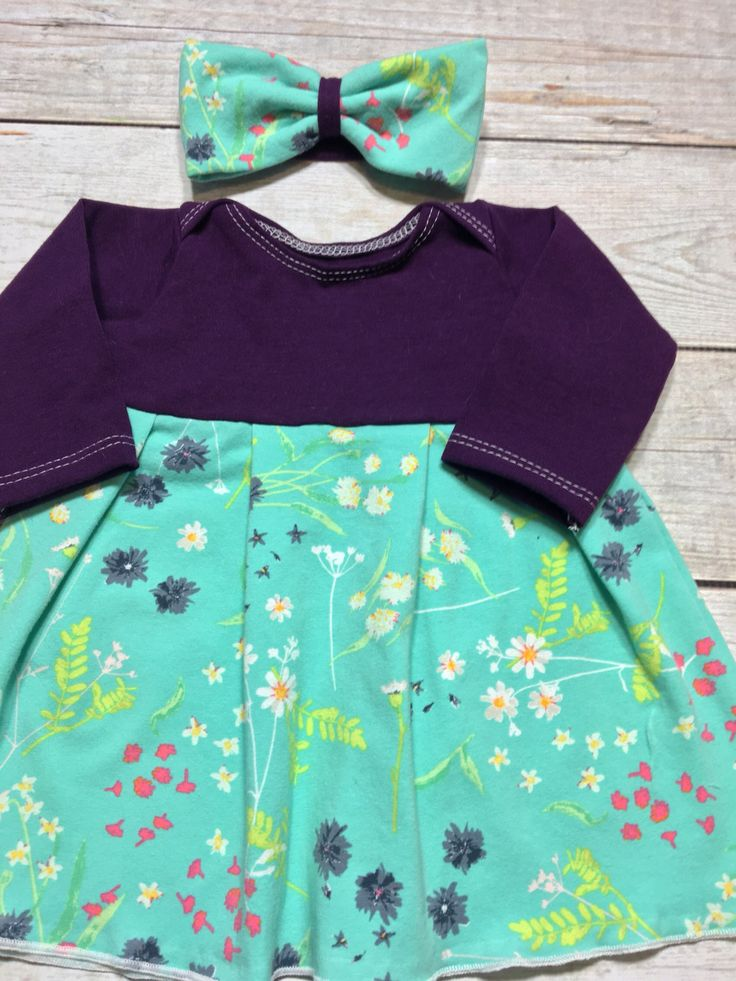 Girls purple floral dress, mint purple spring dress, Cotton Lycra, Baby girl long sleeve Dress, toddler long sleeve Outfit by MockingBrdBoutique on Etsy