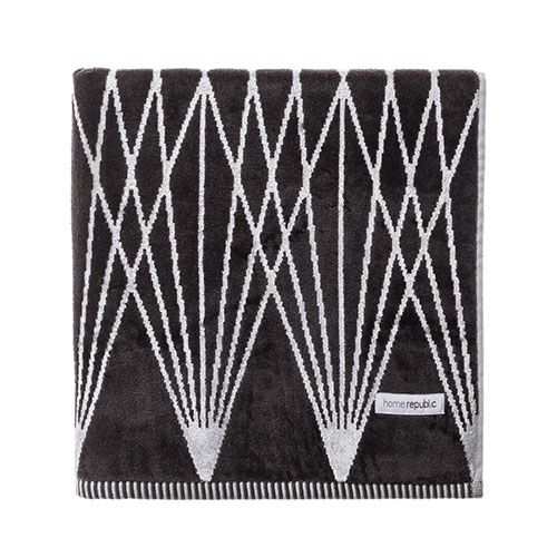 Linear Velour Towels Coal Silver