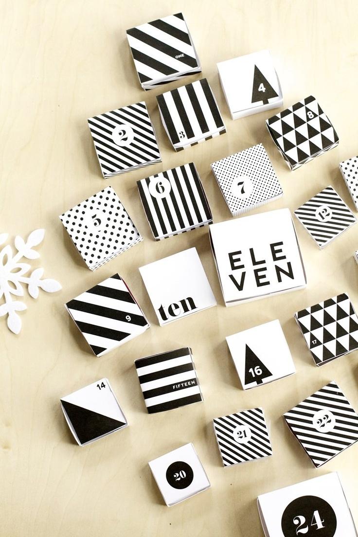 Modern black & white Christmas Advent