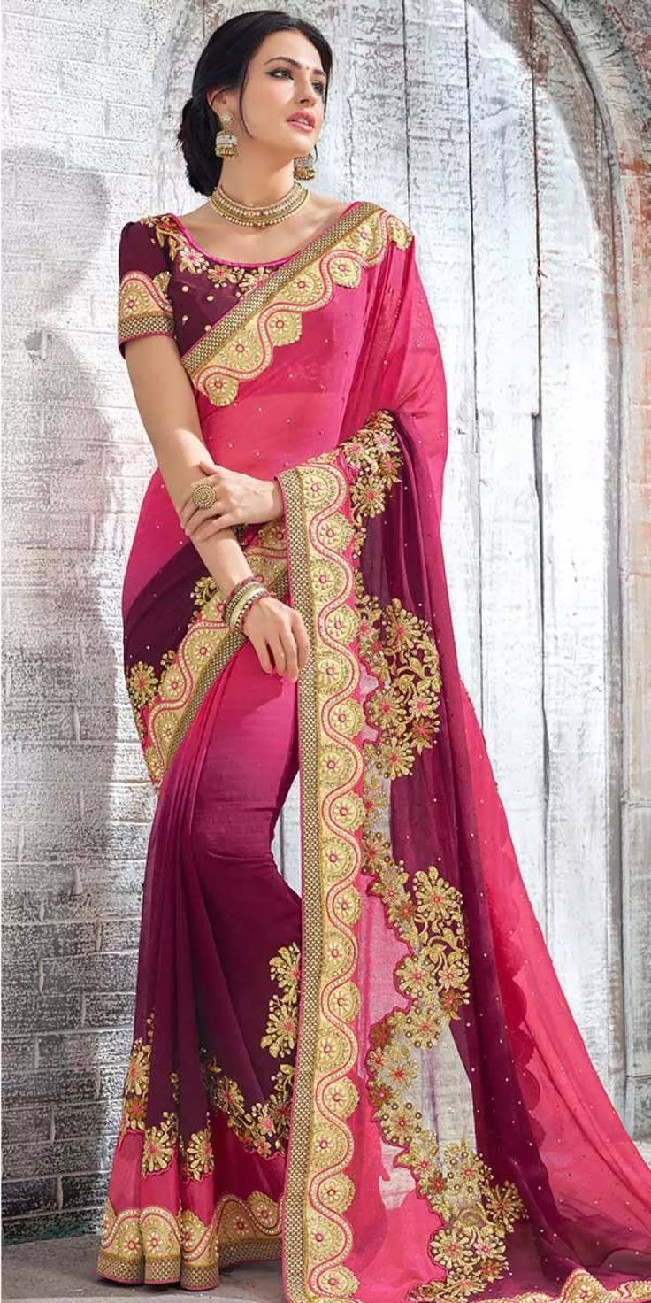 Heartily Pink And Purple Georgette Saree