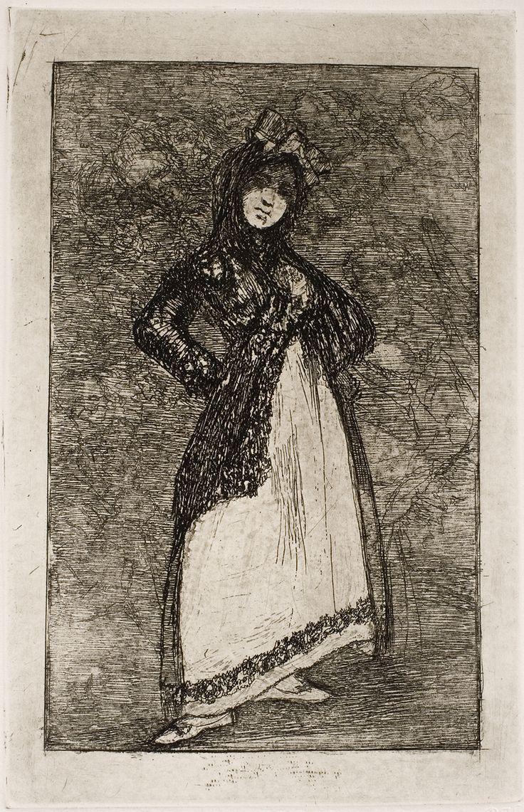 "Francisco de Goya: ""Maja sobre fondo oscuro"". Serie ""Últimos caprichos"" [3]. Etching, aquatint and burnisher, 191 x 122 mm, 1826-1828. Museo Nacional del Prado, Madrid, Spain"
