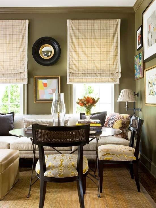 Olive walls cozy banquette bh g pinterest for Olive green dining room ideas
