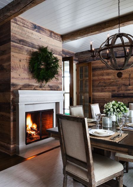 Dining room setup. Wood planked walls with fireplace. Ever seen anything like this before? #dining #plankedwall #fireplace