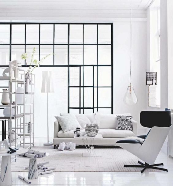 White industrial living room