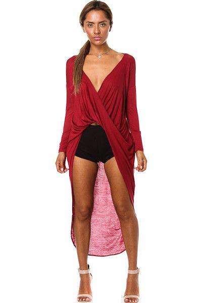 Plus-Hi Lo Wrap Shirt-Red
