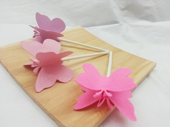 Butterfly Cupcake Topper - Set of 6 - Pink Ombre Butterflies - 3D Butterflies - Girl Baby Shower - Birthday Party - Wedding Bridal Shower on Etsy, $6.00