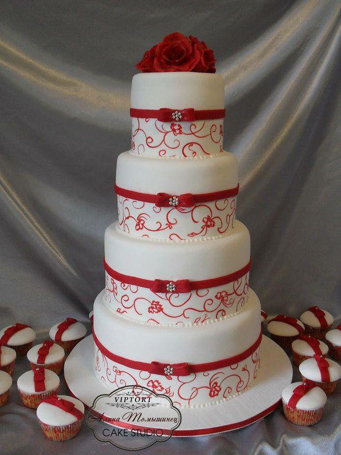 Gâteau mariage blanc et rouge | deco gateau | Wedding cake ...
