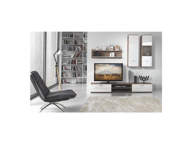 Moderná obývacia stena WAW v obľúbenom farebnom prevedení dub truflový / biela.