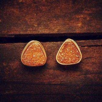 Triangle Druzy Studs - 10mm-Rust Orange