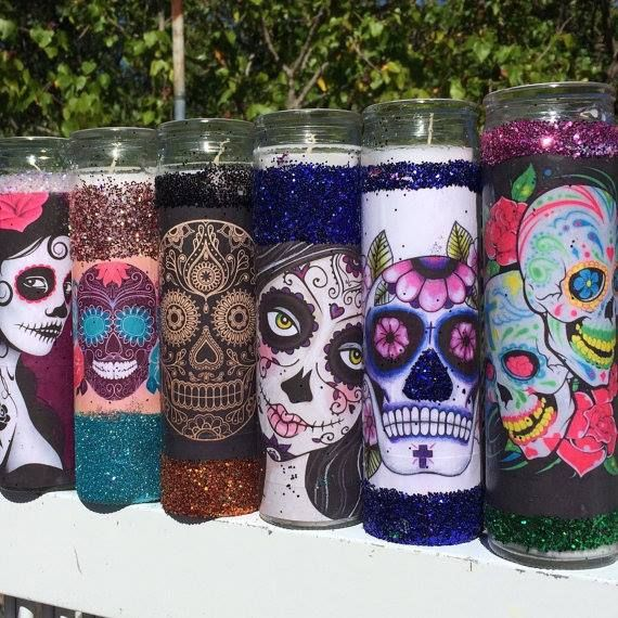 Sugar skull tall candle holders wedding party favors 7 day prayer candles my sugar skulls find this pin and more on dia los muertos