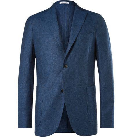 09f9bd0169c8 BOGLIOLI Navy Silk And Linen-Blend Blazer