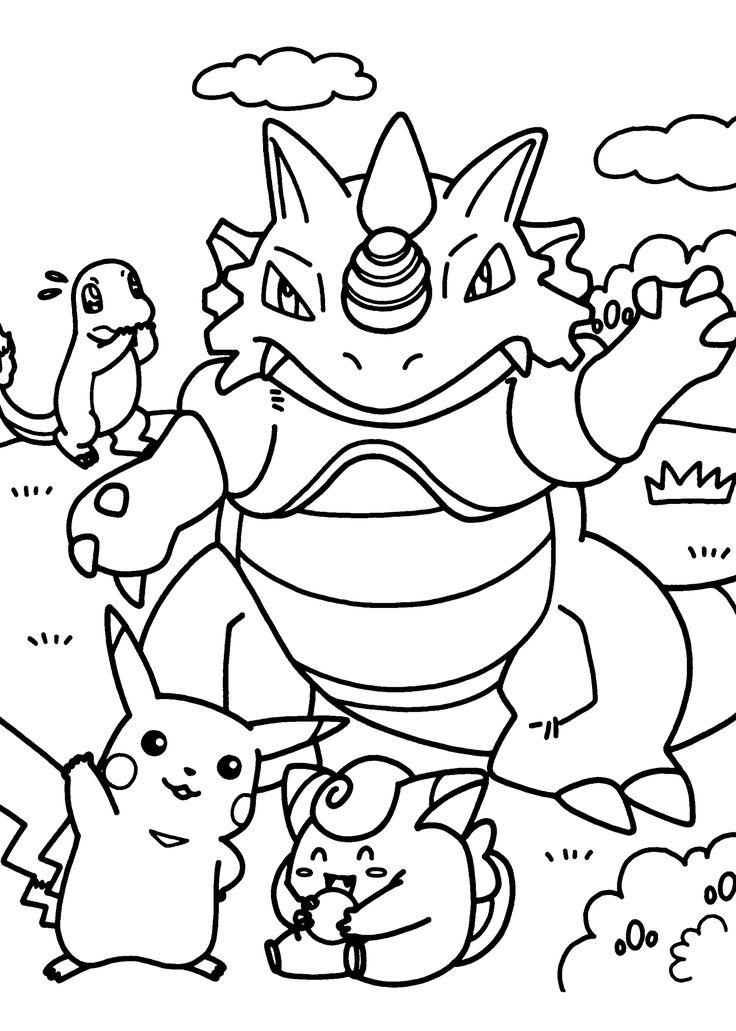 Pokemon dragon manga coloring pages for kids, printable free