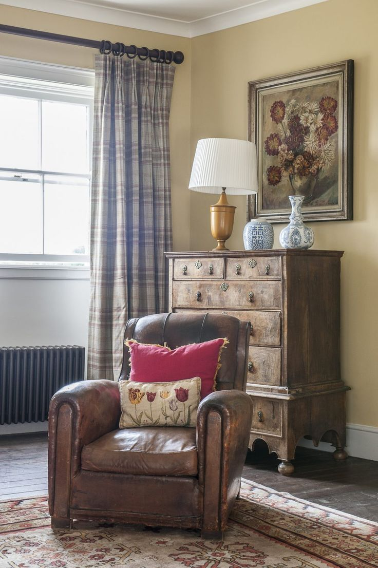 Wonderful The Leather Club Chair And The Dahlia Painting In Francisu0027s Bedroom Were  Both Found At Ardingly. The Chest Of Drawers Is A Family Piece. The Plaid  Curtain ... Part 30