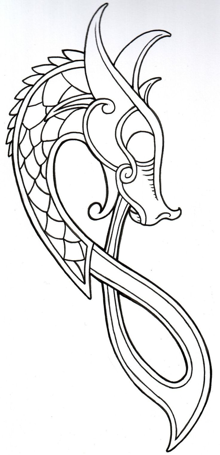 Viking Dragon Outline 2011 by vikingtattoo.deviantart.com on @deviantART