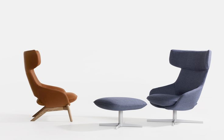 Kalm Swivel Armchairs + Ottoman by Patrick Norguet for Artifort