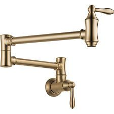 Delta Faucets Victorian Pot Filler Wall Faucet, Champagne Bronze   1177LF-CZ