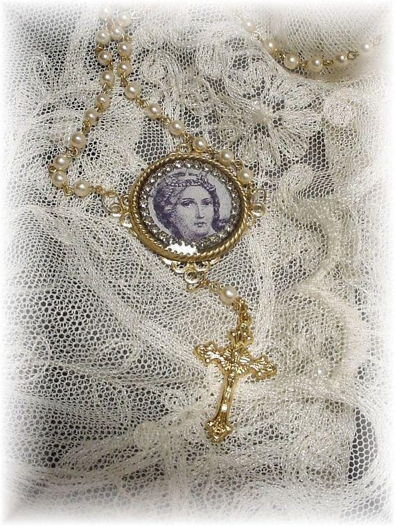 St. Katharina. necklace by trashtotreasureart on Etsy