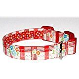 """Red Plaid & Floral Dog Collar - 100% Cotton - Tablecloth Gingham Floral - 3/4"""" Wide - 4 Sizes 9""""-30"""""""