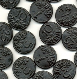 Dutch liquorice in coin shapes