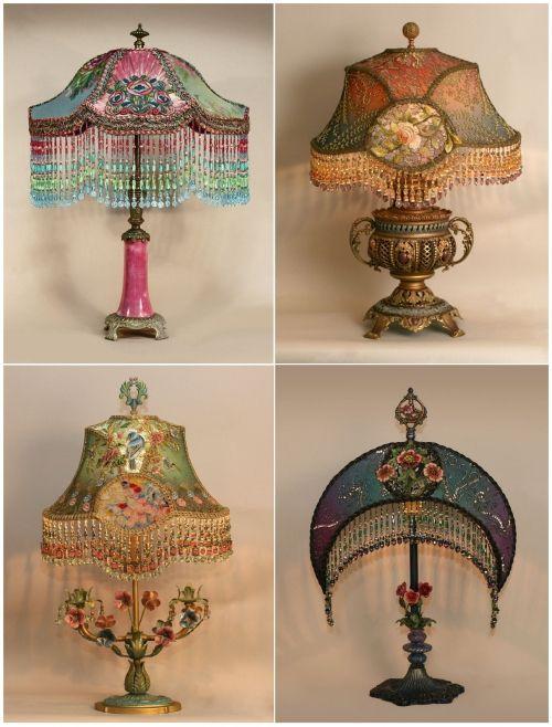 Полюбуйтесь подборкой шикарных ламп начала 20х годов, выполненных в стиле модерн, с шелковыми абажурами с вышивкой, и может быть, она вдохновит вас на создание шедевра. А я, в свою очередь, постараюсь…
