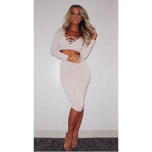 Fashion Woman 2pcs Deep V-Neck Long Sleeves Bandage Dress White