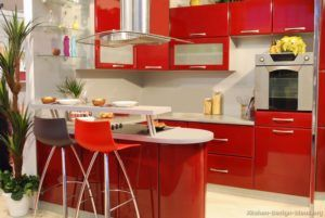 Kitchen Cabinets Modern Red Peninsula Seating Bar Height Glass Doors Small Pictures Of Kitchens Kitchen Cabinets Design Perfect Red Kitchen Cabinets