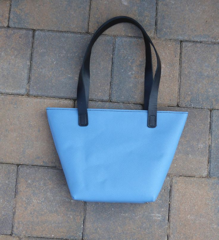 powder blue zip tote with black strap handels by YoudsLeather on Etsy