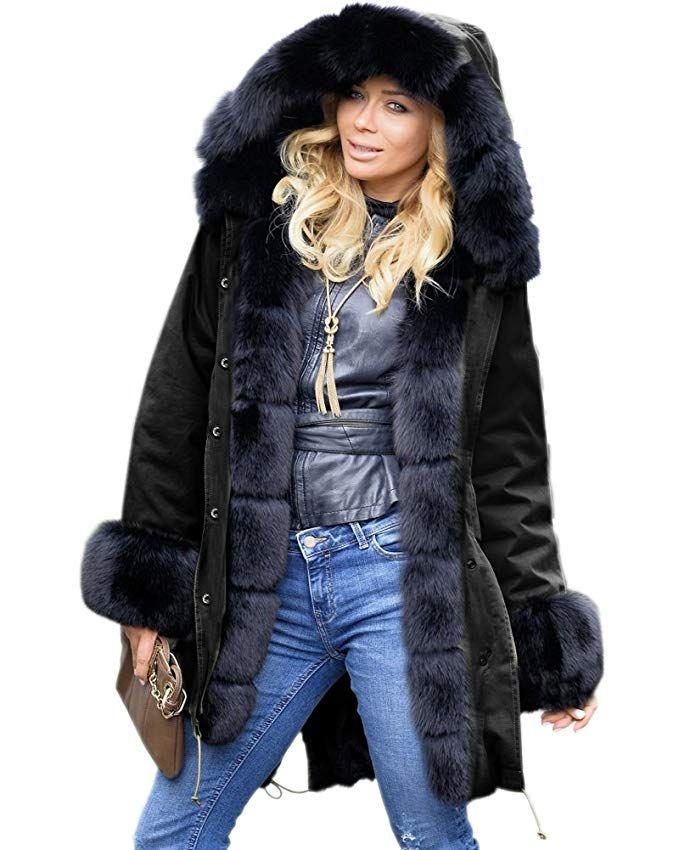 Plus Size Womens Winter Warm Hoody Coat Fleece Fur Jacket Outwear Parka Tops